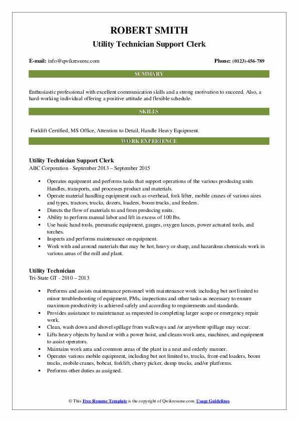 Utility Technician Support Clerk Resume Model