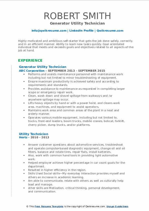 Generator Utility Technician Resume Template
