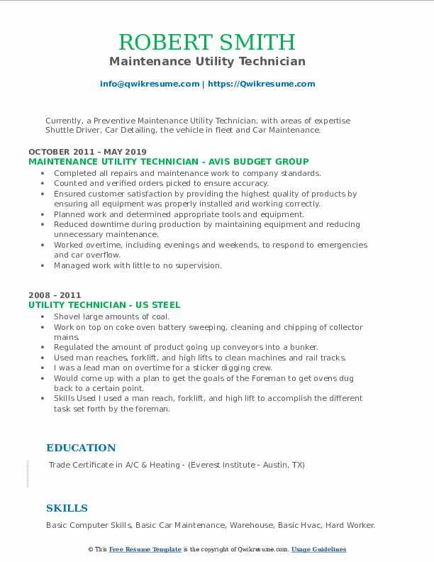 Maintenance Utility Technician Resume Model
