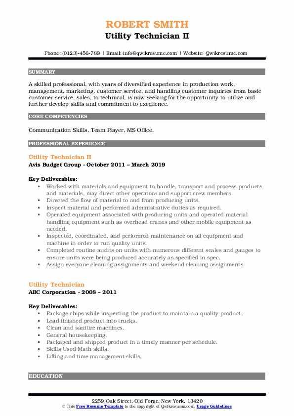 Utility Technician II Resume Model
