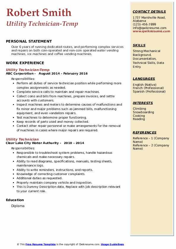 Utility Technician-Temp Resume Model