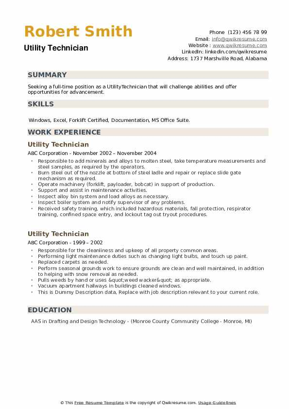 Utility Technician Resume example