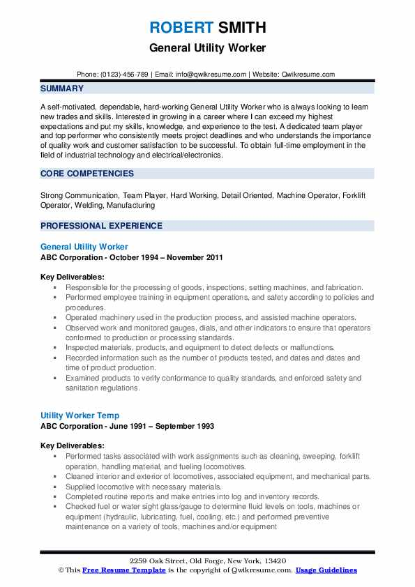 General Utility Worker Resume Template