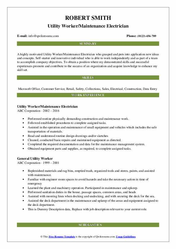 Utility Worker/Maintenance Electrician Resume Sample
