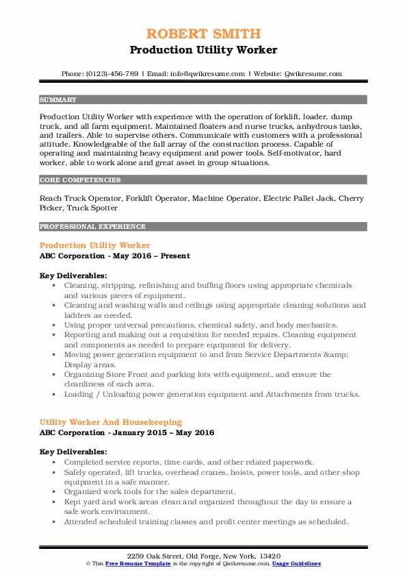Production Utility Worker Resume Example