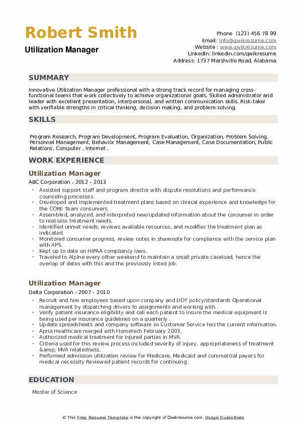 Utilization Manager Resume example