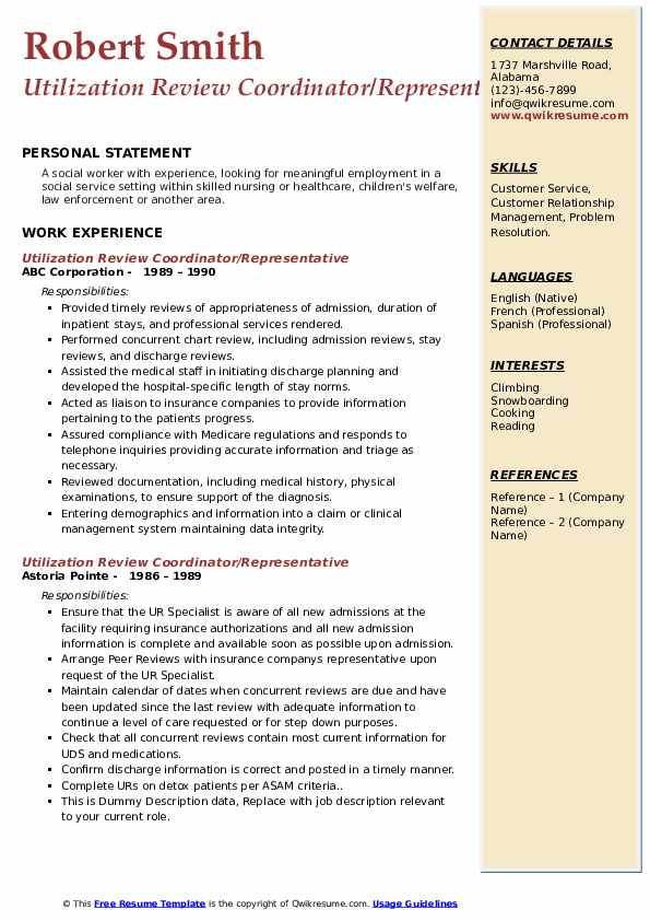 Utilization Review Coordinator Resume Samples Qwikresume
