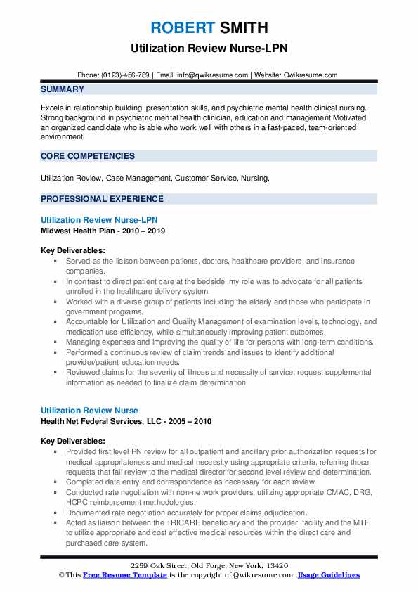 Utilization Review Nurse Resume Samples Qwikresume