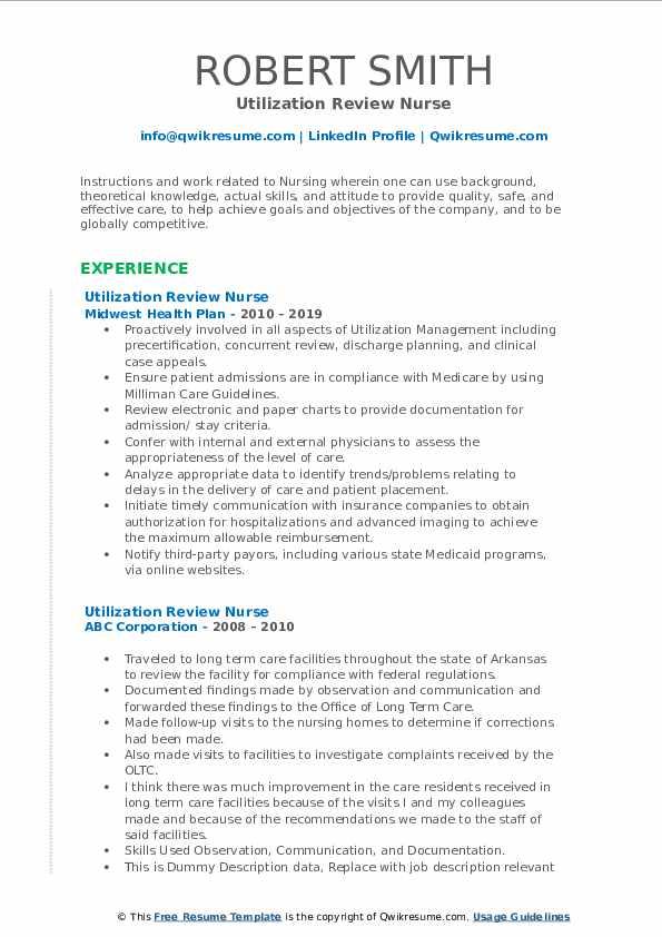 Utilization Review Nurse Resume example