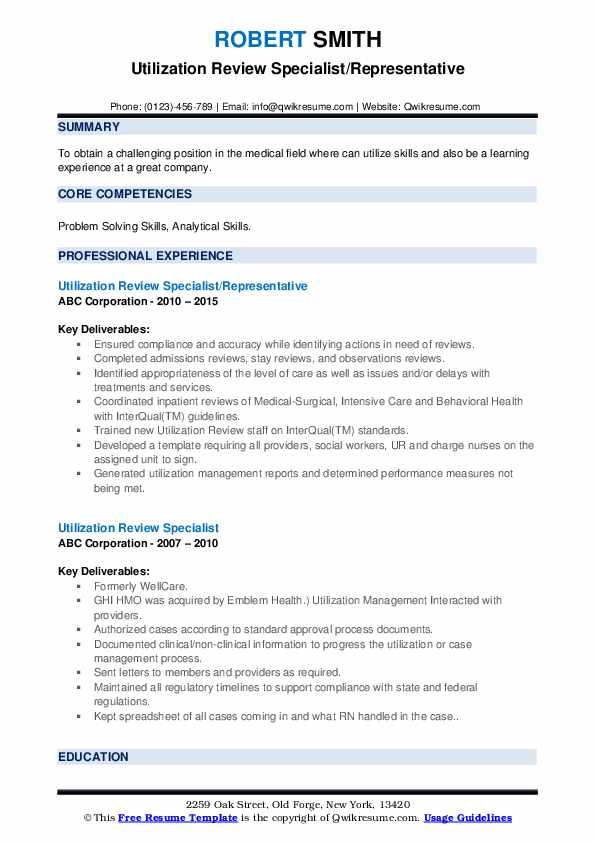 utilization review specialist resume samples
