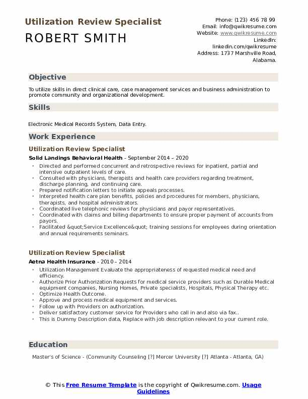 Utilization Review Specialist Resume example