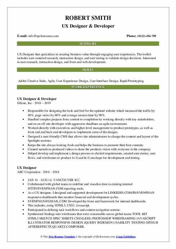 UX Designer & Developer Resume Template