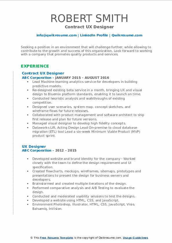 Contract UX Designer Resume Sample
