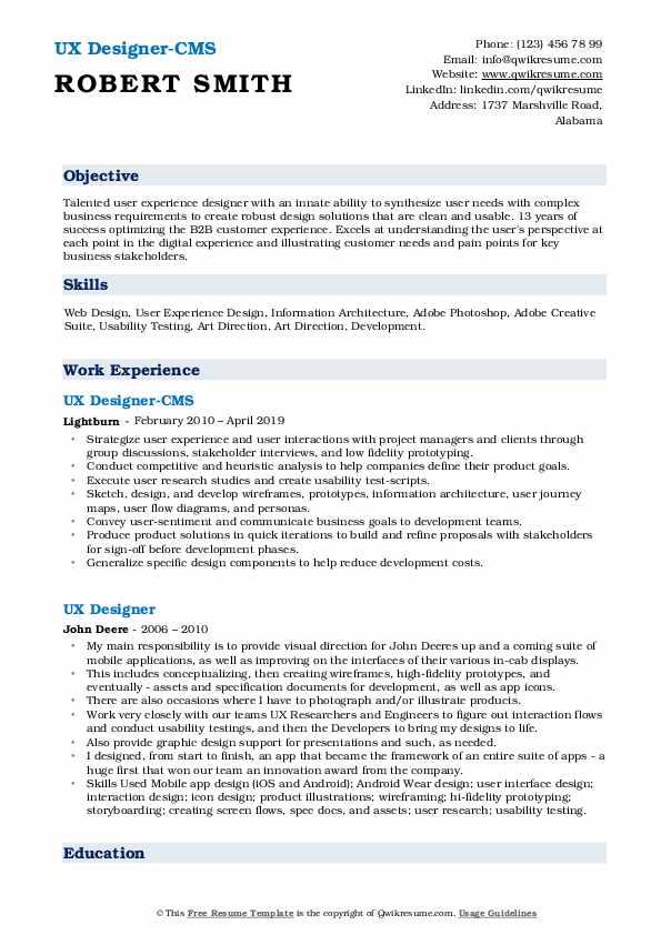 UX Designer-CMS Resume Format
