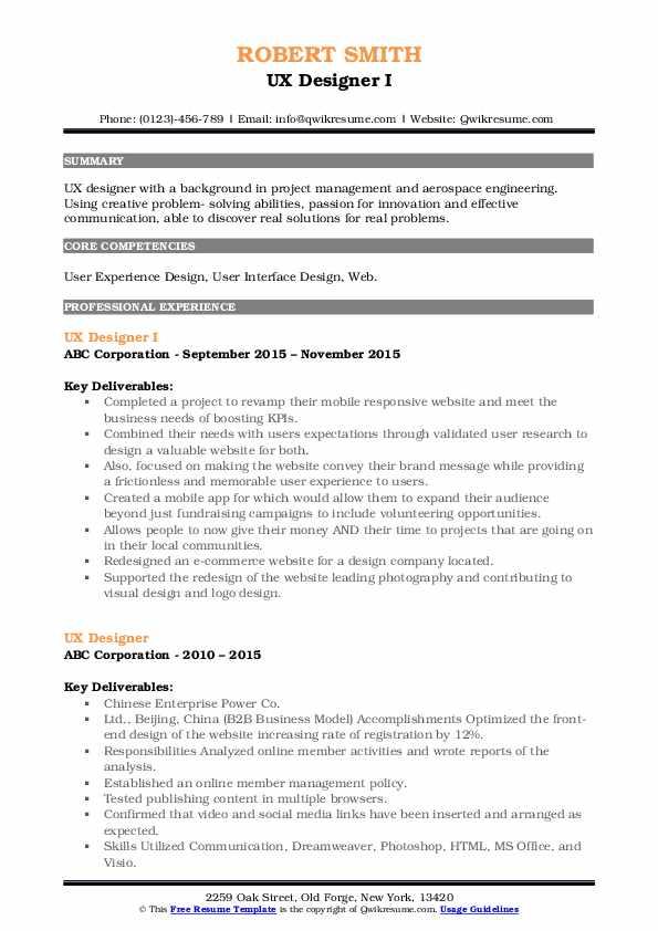 UX Designer I Resume Format
