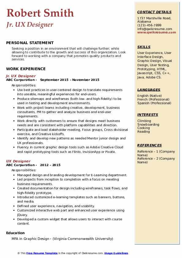 Jr. UX Designer Resume Example
