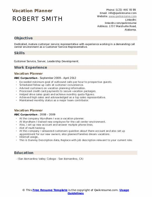 Vacation Planner Resume example