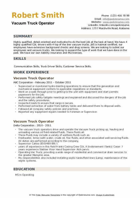 Vacuum Truck Operator Resume example
