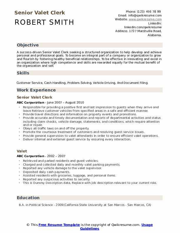 Senior Valet Clerk Resume Template