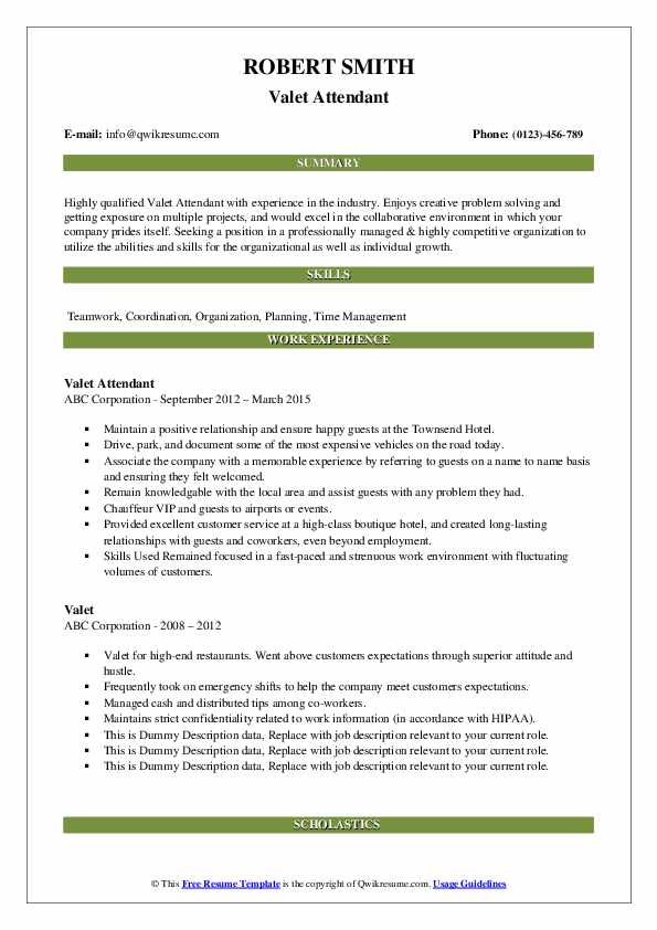 Valet Attendant Resume Format