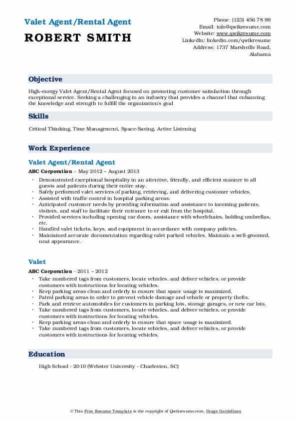 Valet Agent/Rental Agent Resume Sample