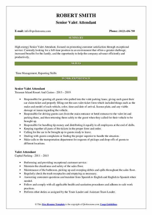 Senior Valet Attendant Resume Format