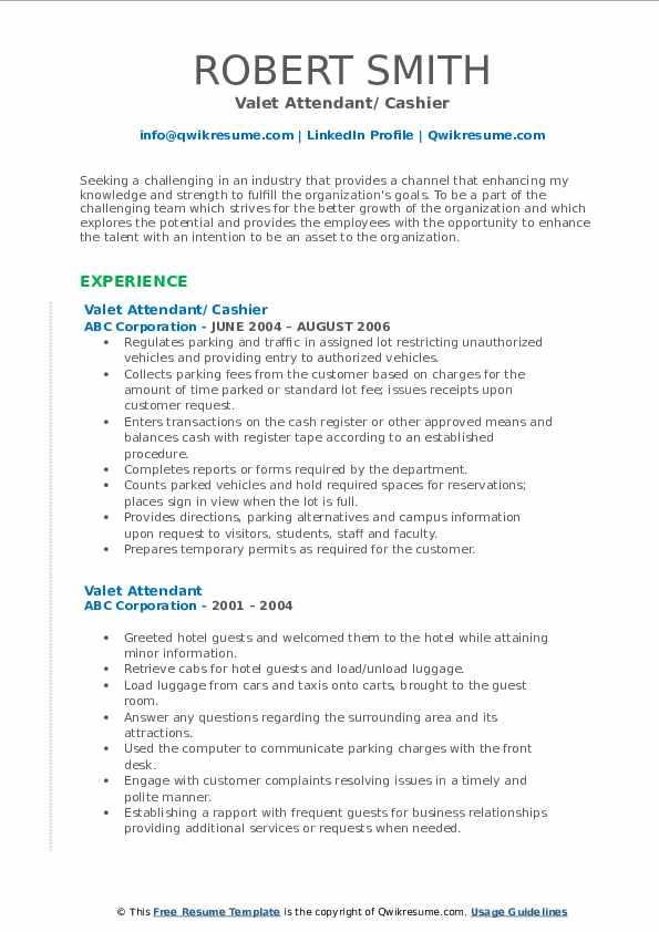 Valet Attendant/ Cashier Resume Format