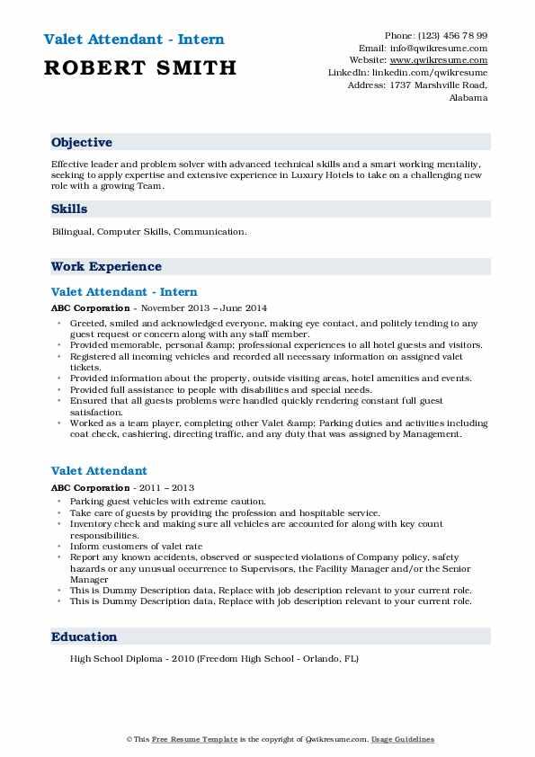 Valet Attendant - Intern Resume Sample