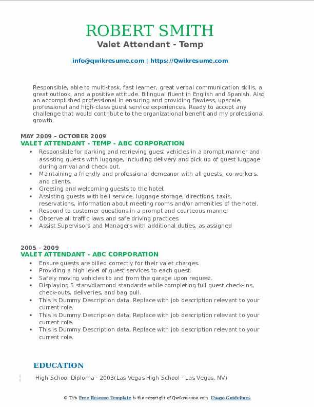 Valet Attendant - Temp Resume Format
