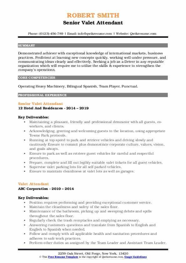 Senior Valet Attendant Resume Model
