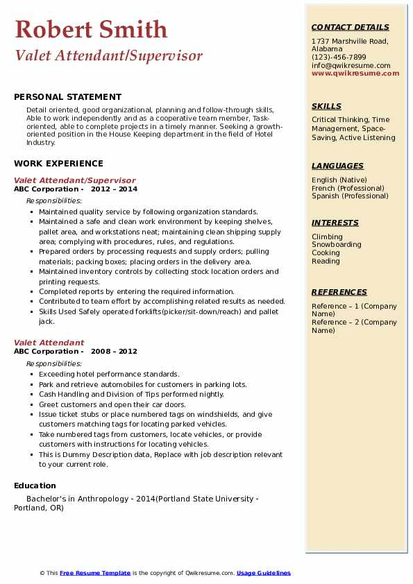 Valet Attendant/Supervisor Resume Sample