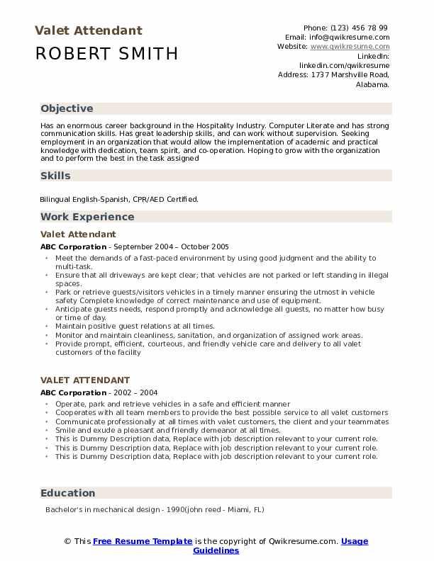 Valet Attendant Resume example
