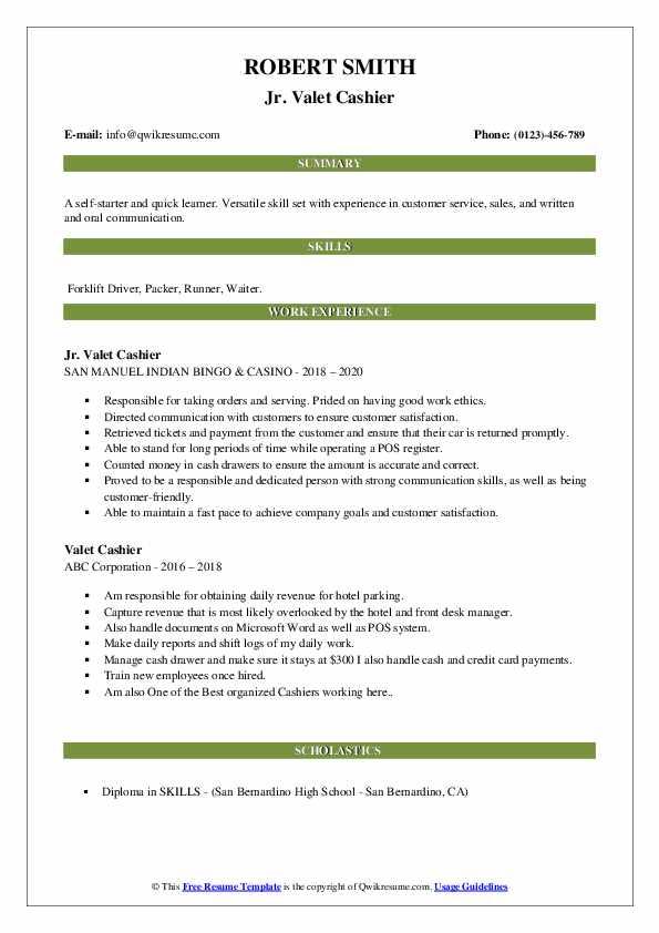 Valet Cashier Resume Samples | QwikResume