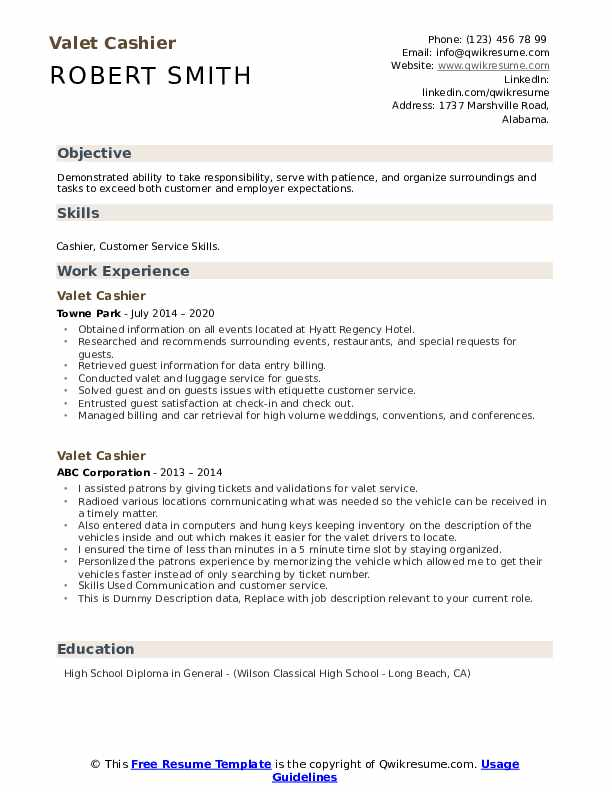 Valet Cashier Resume example
