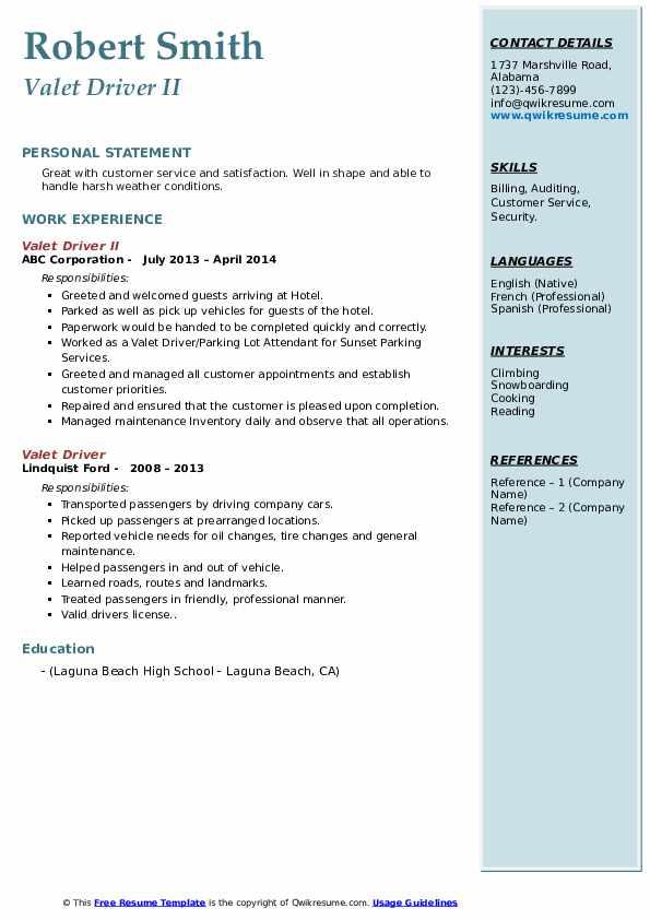 valet driver resume samples  qwikresume