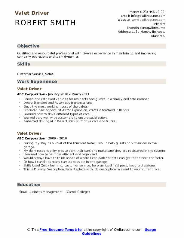 Valet Driver Resume example