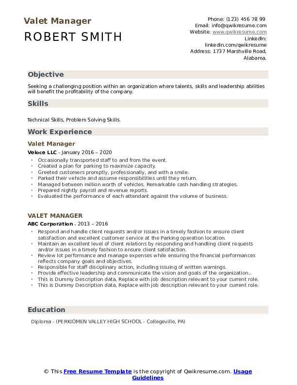 Valet Manager Resume example