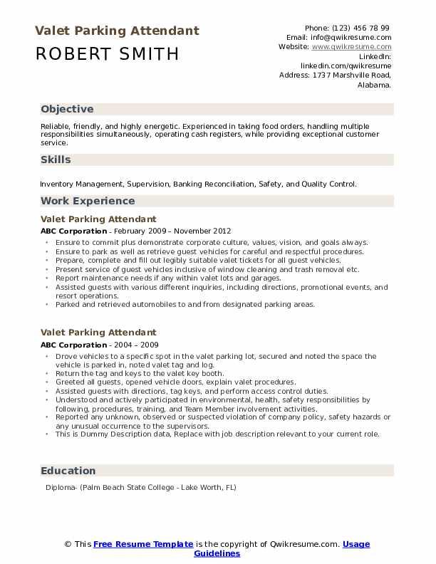 Valet Parking Attendant Resume example
