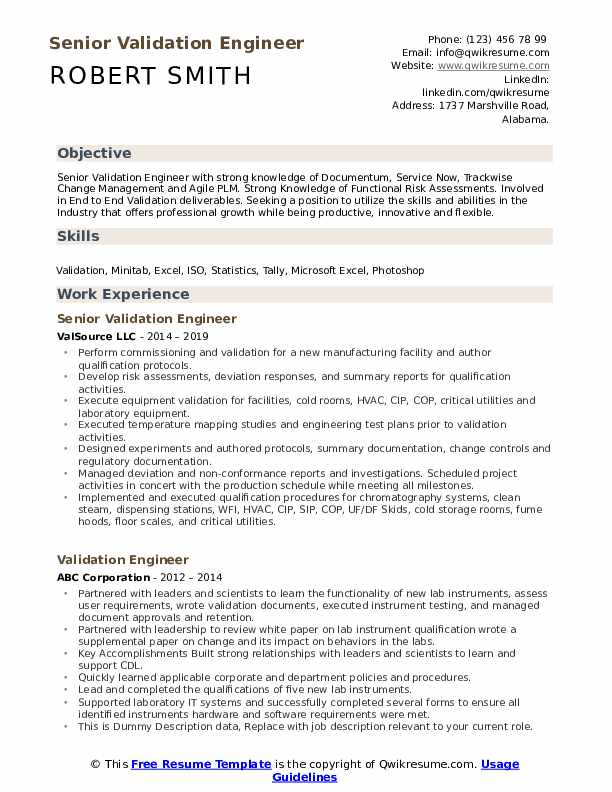 Senior Validation Engineer Resume Sample