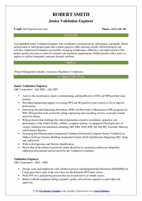 Junior Validation Engineer Resume Format