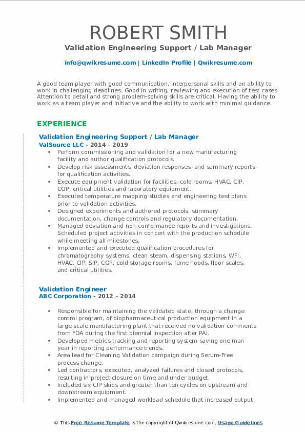 Validation Engineering Support / Lab Manager Resume Format