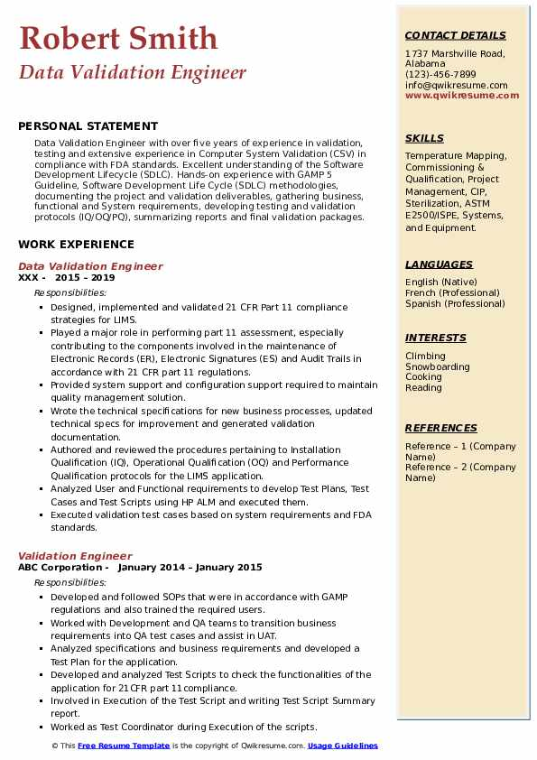 Data Validation Engineer Resume Template