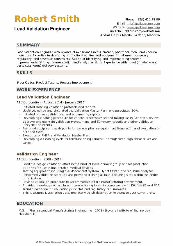 Validation Engineer Resume example