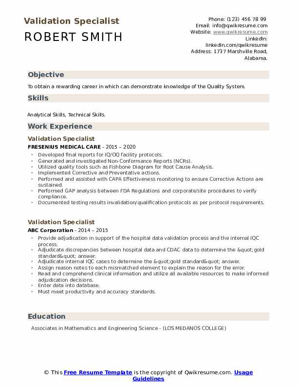 Validation Specialist Resume example