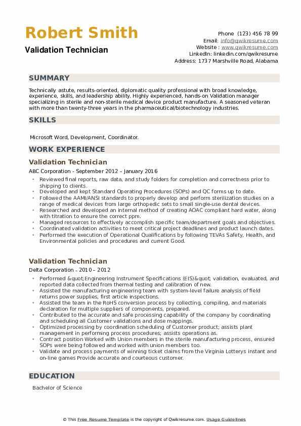Validation Technician Resume example