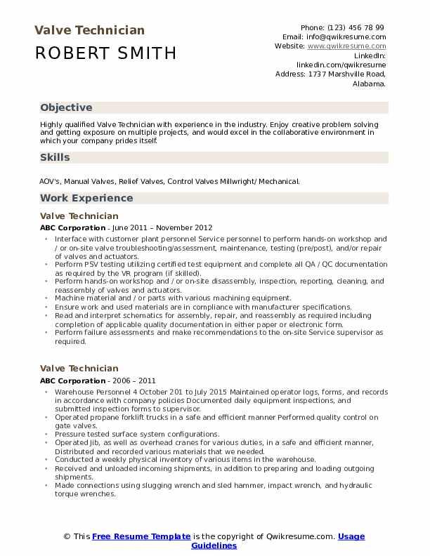 valve technician resume samples
