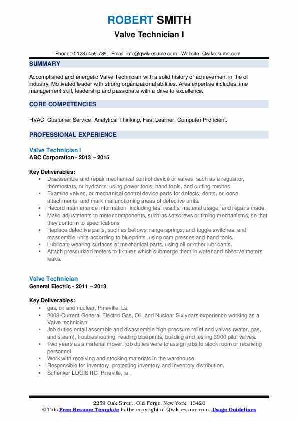 Valve Technician I Resume Format