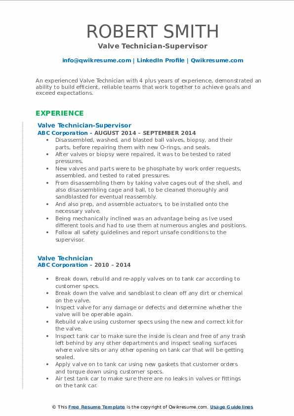 Valve Technician-Supervisor Resume Template