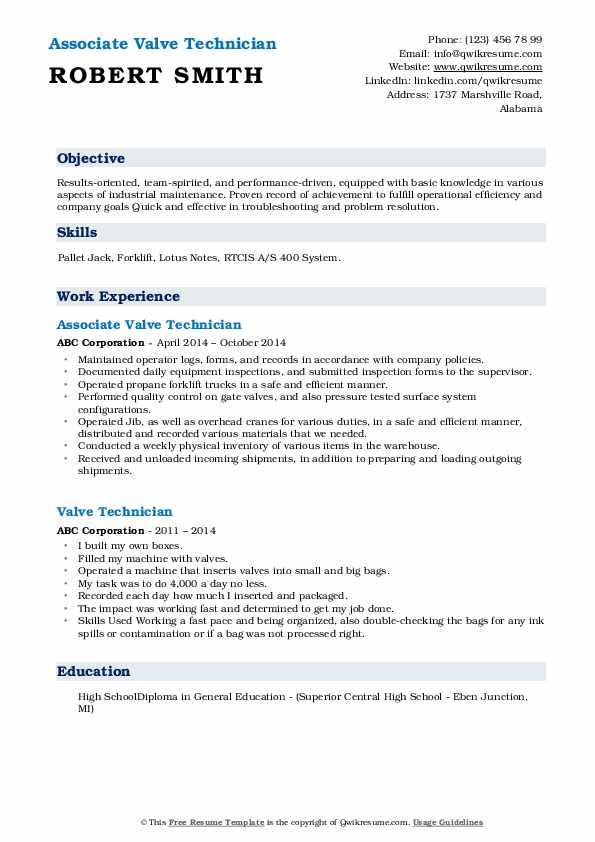 Associate Valve Technician Resume Sample