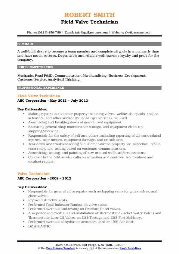 Field Valve Technician Resume Format